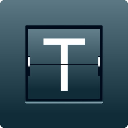 tableau: Letter T from mechanical scoreboard. Vector illustration Stock Photo