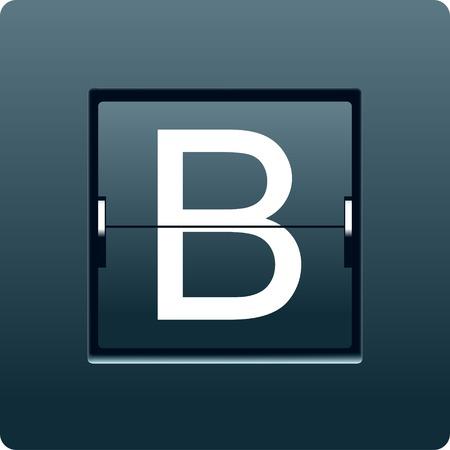 reversible: Letter B from mechanical scoreboard. Vector illustration Stock Photo