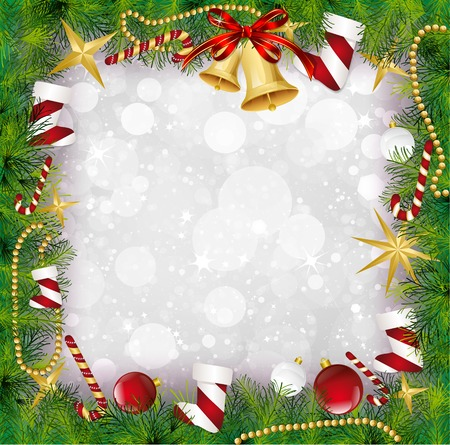 Christmas Frame With Holly Decoration. Vector illustration