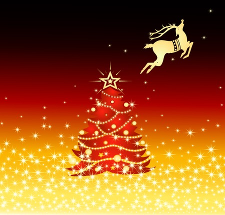 A snowflake background with tree and reindeer photo