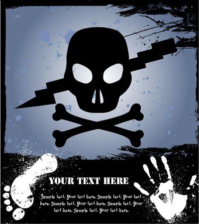 gore: Skull on grunge background. Vector illustration