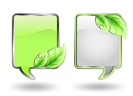 silver grass: Banner with green leaf and blob. Vector illustration