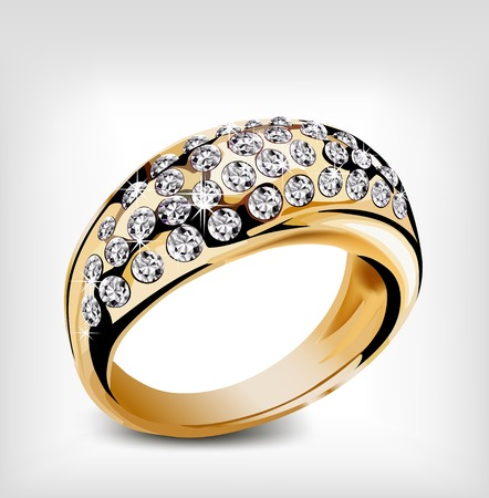 Gold ring with some diamond. Vector illustration illustration
