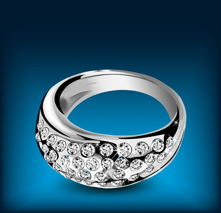 Silver ring with some diamonds. Vector illustration illustration