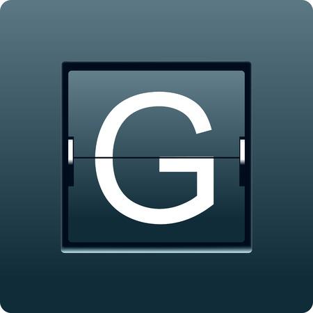 Letter G from mechanical scoreboard. Vector illustration