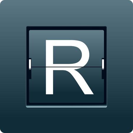 reversible: Letter R from mechanical scoreboard. Vector illustration