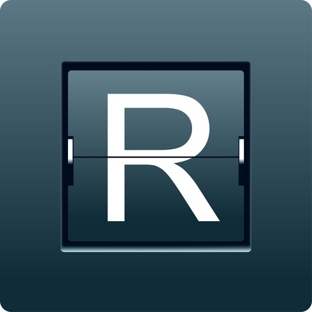 Letter R from mechanical scoreboard. Vector illustration