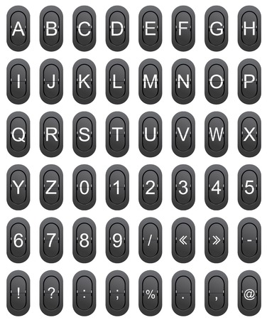 Letter series A to Z, numeric and punctuation marks from mechanical scoreboard photo