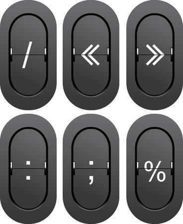 Punctuation marks from mechanical scoreboard. Vector illustration illustration