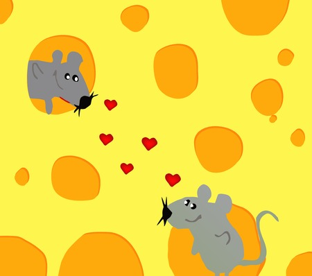 Merry card with love mouse in cheese on Valentines day. Vector photo