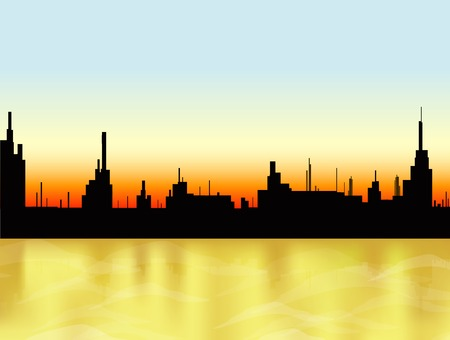 mirage: Sunset in the city and sea. Vector Illustration