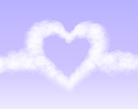 romantic sky: Clouds heart on pink romantic sky background. Vector illustration