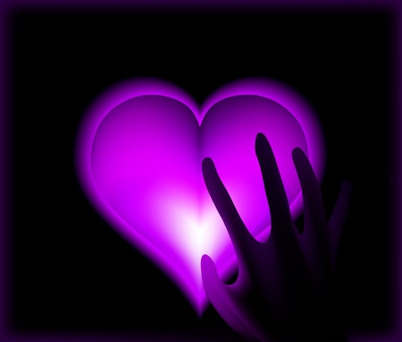 fantasize: Hand in heat from purple heart cold. Vector illustration Stock Photo