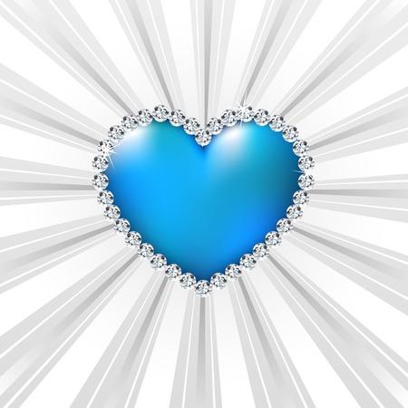 Shiny crystal love hearts on radial background. Vector illustration illustration