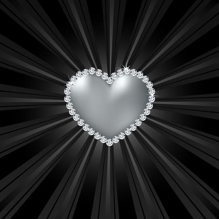 Shiny crystal love heart on black line. Vector illustration illustration