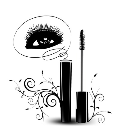 varnish: Ink for eyelashes with ornament. Vector illustration Stock Photo