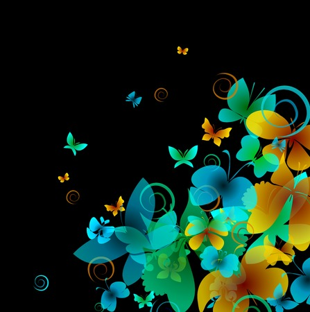 Bright butterflies on a black background photo