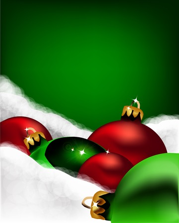 Xmas greeting card. Christmas red and green toys. Vector photo