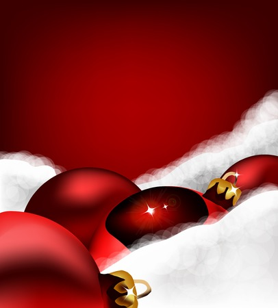 Xmas greeting card. Christmas red toy on Cotton wool. Vector illustration