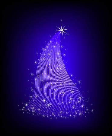 Vector illustration of Christmas tree with stars illustration