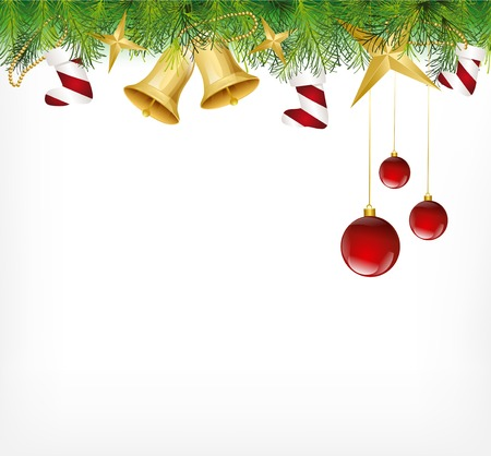 Christmas Card Ornament hanging on the tree. Vector Stock Photo