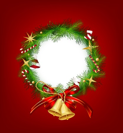 Christmas garland with bells and holly berry. Vector illustration illustration