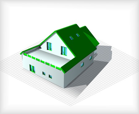 home addition: Vector of a house on top of architecture blueprints Stock Photo