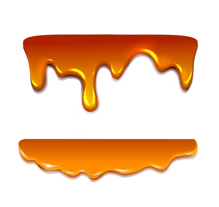 Liquid caramel, Honey.  Vector