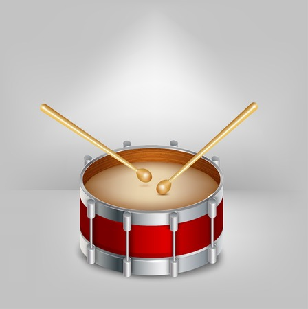 drumsticks: Red drum and wooden drumsticks.  Illustration