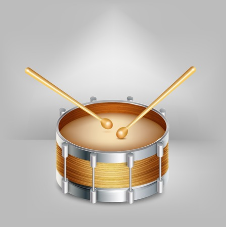 drumsticks: Wooden drum and drumsticks. Vector illustration