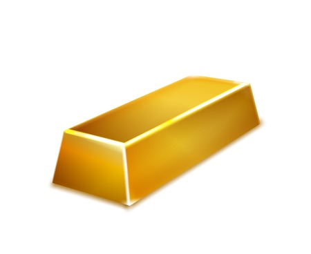 Gold bar isolated on white background illustration