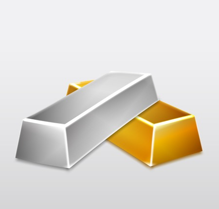 Golden and Silver Bars on white background illustration Vector