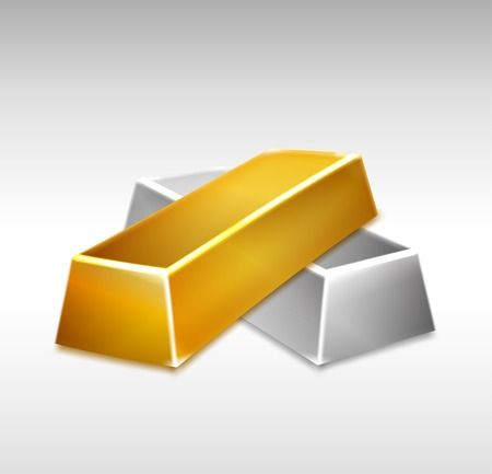 Golden and Silver Bars illustration Vector