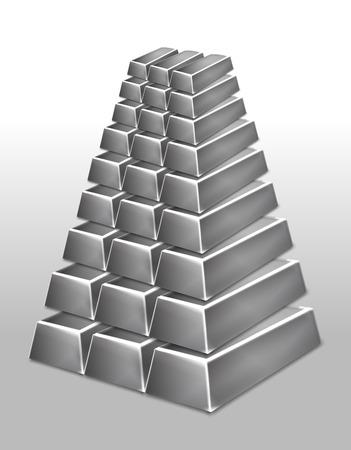 platinum: Platinum bars pyramid isolated illustration Illustration