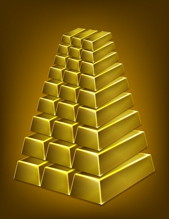 Gold bars pyramid isolated illustration Vector