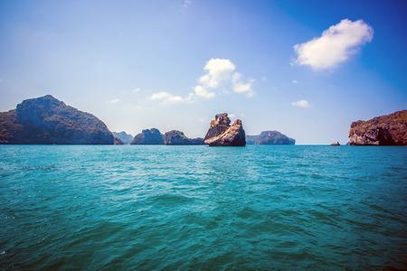 beaty: Beaty limestone rock in the ocean. Thailand