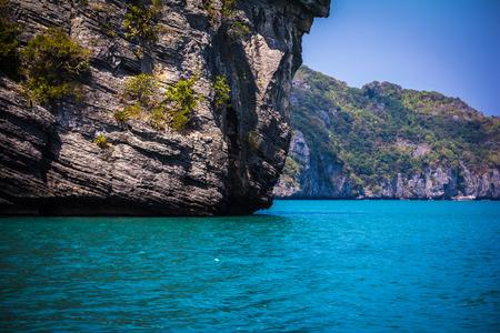 Beauty limestone rock in the ocean. Thailand photo
