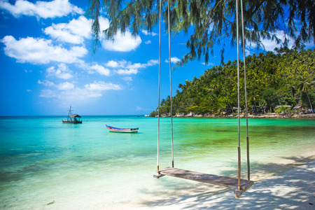 Swing hang from coconut tree over beach, Phangan island Archivio Fotografico