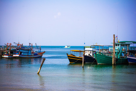 phangan: Boats in sea on the sky  Stock Photo