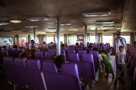 tranfer: People sit in express passenger boat. Thailand Koh Samui