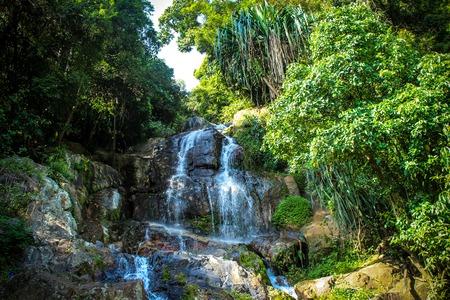 Waterfall with pool in tropical jungle, Na Muang, Koh Samui photo