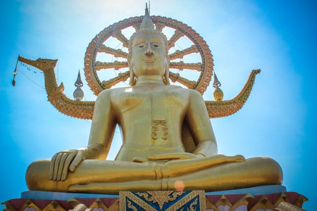 samui: Golden Big buddha on the sky background in Koh Samui