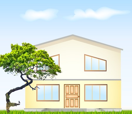 rural development: Vector illustration of facade and a tree. Illustration