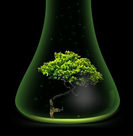 a substance vial: Tree in glass retort. Vector Illustration