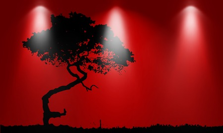 asian gardening: Silhouette of tree over red background with lights
