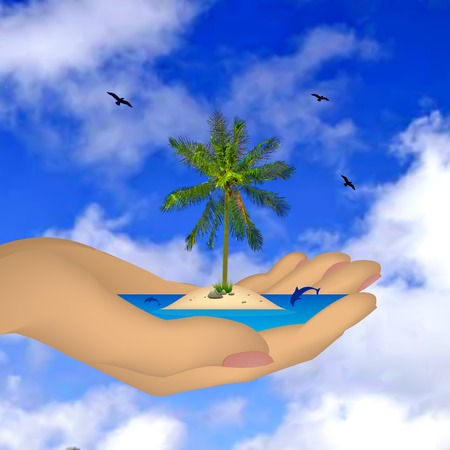 Tropical sea ??island with palm tree in a female hand. Vector illustration Vektorové ilustrace