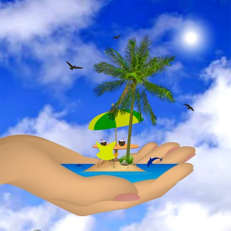 Tropical sea ??island with palm tree in a female hand. Vector illustration Vector