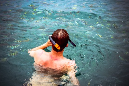 top view of a Man snorkeling in the sea. Thailand photo