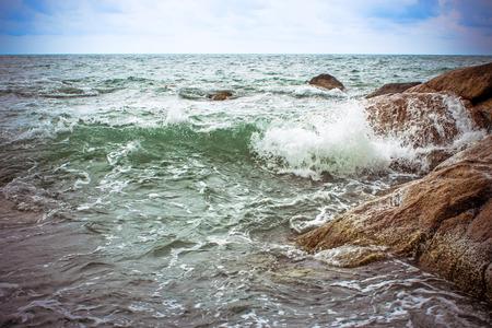 blu sky: Sea waves crashing against the rocks, Koh Samui
