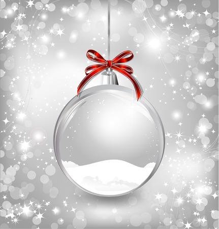 Lege snow-globe met rode strik. Vector Stockfoto - 32846859